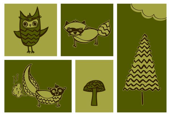 forest-animals-bw