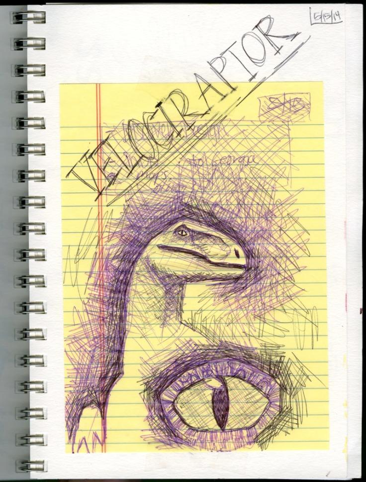 velociraptor dinosaur sketch