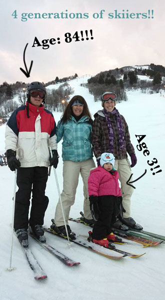 4 generations of skiiers