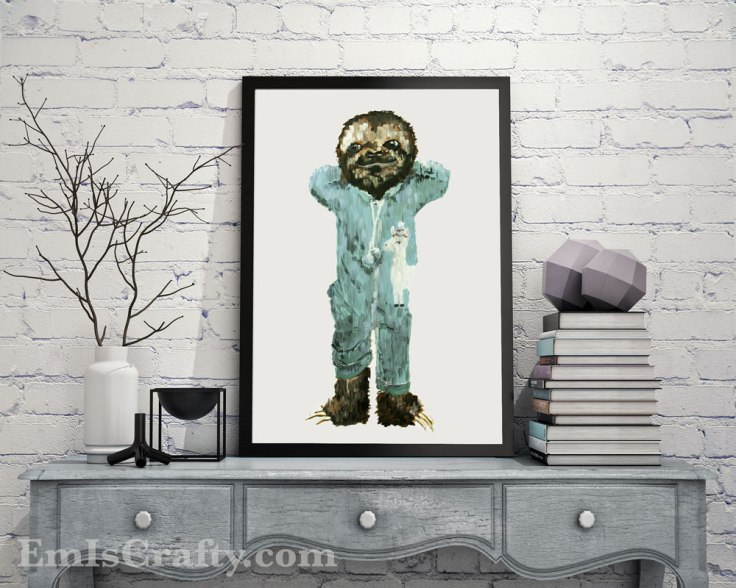 baby sloth in footie jammies