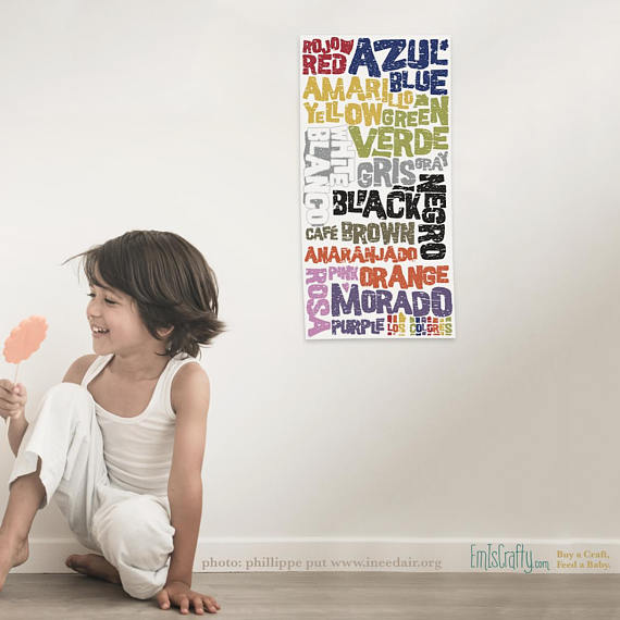 Los Colores Spanishenglish Color Poster Printable Em Is